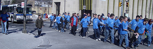 [Engineers and bus all in blue]