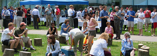 [Crowd by the Tatham Centre and refreshment tent]
