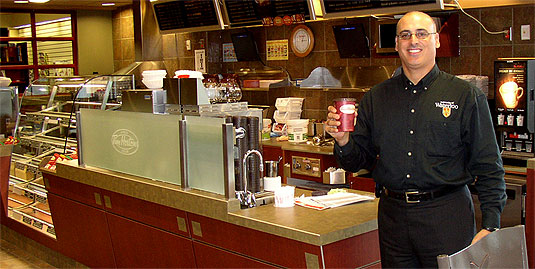 [Tim's counter all ready for customers]