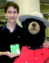 [Man and Mountie bear]