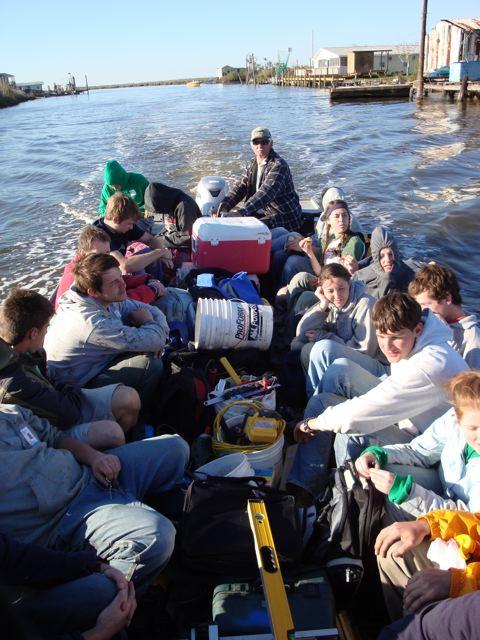 boatful of Grebel volunteers in Louisiana