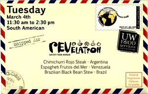 [Airmail envelope advertises South American cuisine]