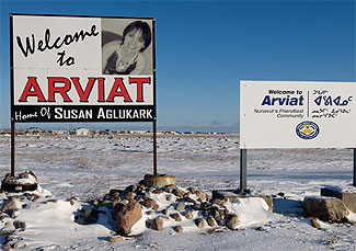 [Welcome to Arviat' signs]