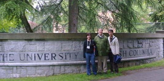 [Posing in front of UBC inscription]