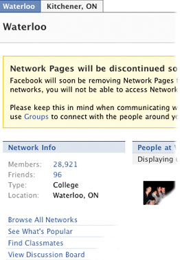 ['Network pages will be discontinued']