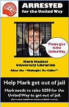 [Haslett behind bars on United Way flyer]