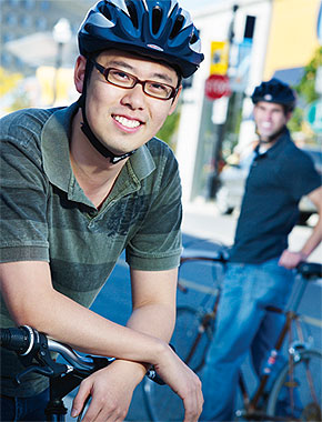[Matthew Lee in bike helmet]