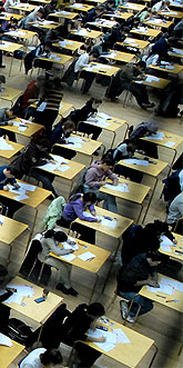 [More of the exam hall]