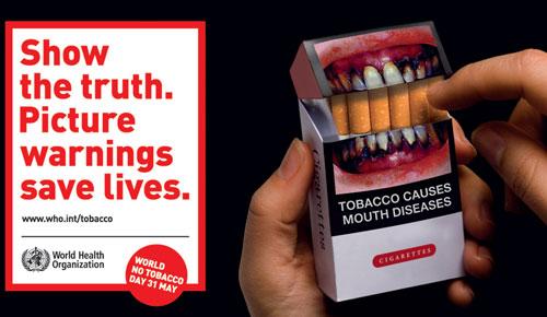 World No Tobacco Day cigarette pkg sticker