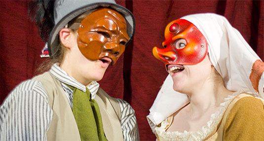 [His brown mask, her red mask]