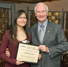 Catharine Lau with David Johnston