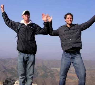 Kevan Osmond (left) and Jorge Adib, fifth-year Math/Bus Double Degree students, on the Great Wall