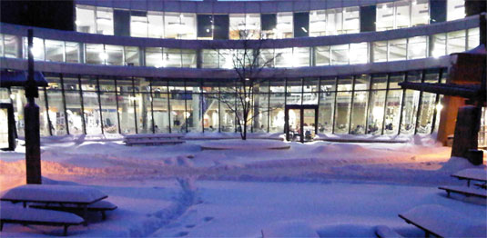 The Student Life Centre after a snowfall.