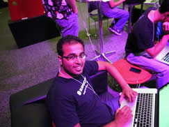Amir Mansoor, three hours into the Hack competition.