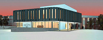Planned Grebel academic building -- architect's drawing