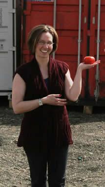 Karen Mason-Bennett and the fruit of her labours.