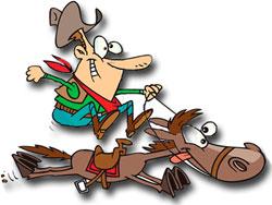 [Cartoon: cowboy on horse]
