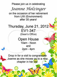 Joanne Holzinger retirement party poster.