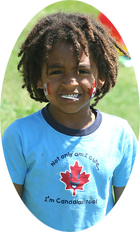 [Kid with Canada T-shirt]
