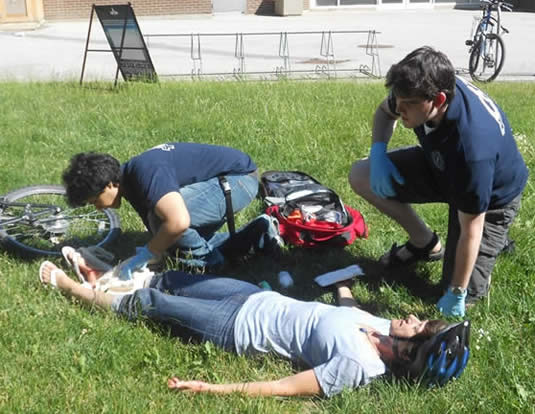 Members of the Campus Response Team participate in a casualty simulation event.