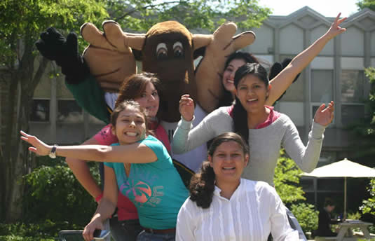 Students from Monterrey Tech get goofy with Reni Moose.