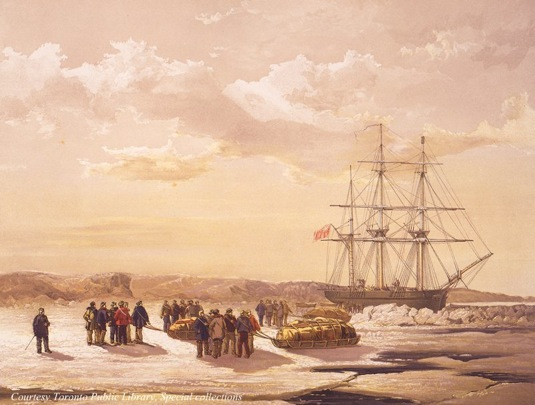 Drawing of crew leaving HMS Investigator