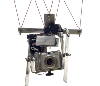 Camera rigged to hang from kite line