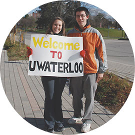[Students with welcome sign]