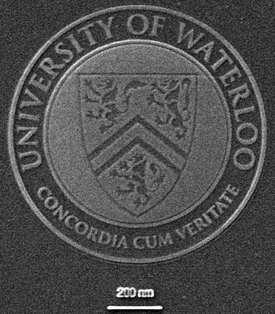 A nanoscale image of the University of Waterloo's seal.