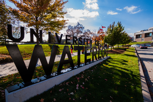 The new University of Waterloo sign at the south campus entrance.