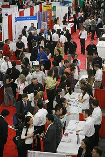 Students and employers discuss job opportunities at last year's Job Fair.
