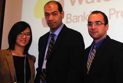 Helena Cao, Ryan Chen-Wing, and Mark Haley of the Waterloo Banking Project.