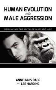 """The front cover of """"Human Evolution and Male Aggression"""" showing a human and a gorilla."""