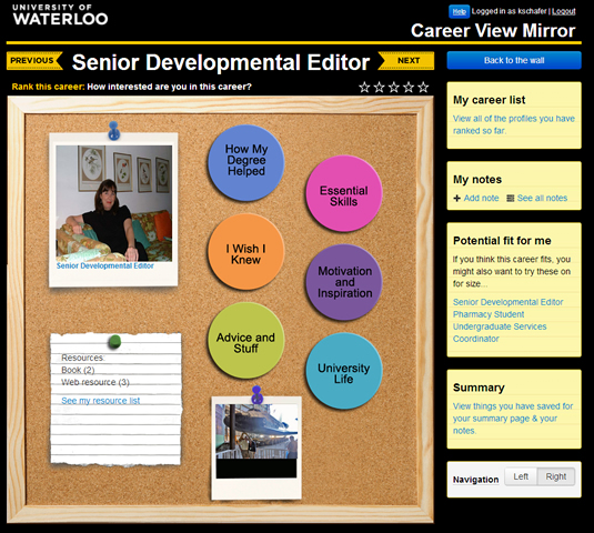 A screenshot of the Career View mirror application, showing a digital cork board and buttons.