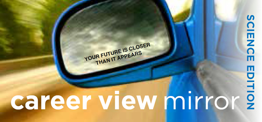 "An illustration of a car's side view mirror with the caption ""your future is closer than it appears."""