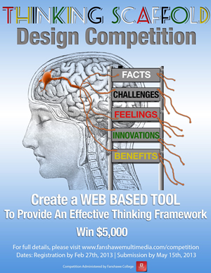 """Thinking Scaffold Design Competition showing a human brain with a scaffold next to it with """"Facts, challenges, feelings, innovations, benefits"""" on each rung of the ladder."""
