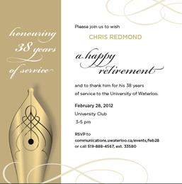 Invite for Chris Redmond's retirement event.
