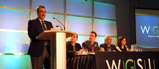 Feridun Hamdullahpur, Wilson da Silva, Jason Blackstock, Jatin Nathwani, Lauren Riga at Equinox Summit panel, Vancouver, Sunday, February 19, 2012.