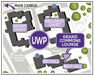Map of UW Place showing the location of the Grand Commons lounge.