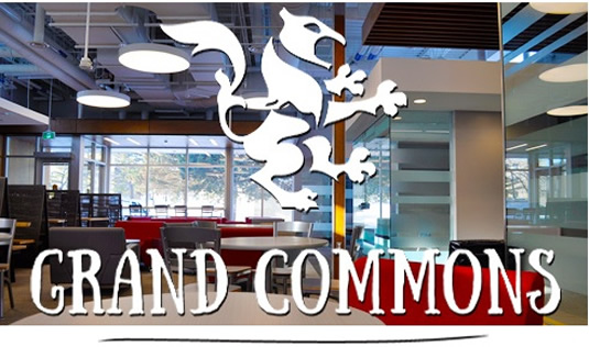 The Grand Commons lounge with a logo overlayed.