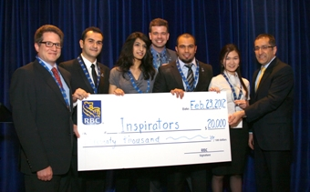 The Inspirators pose with their cheque.