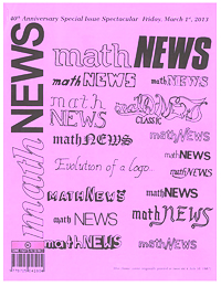 The March 1, 2013 issue of MathNEWS with a variety of past logos adorning the cover.