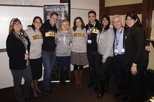 Pat Duguay and Ken McGillivray pose with London and UK alumni at the launch event.