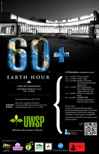 Earth Hour poster, showing the Student Life Centre.