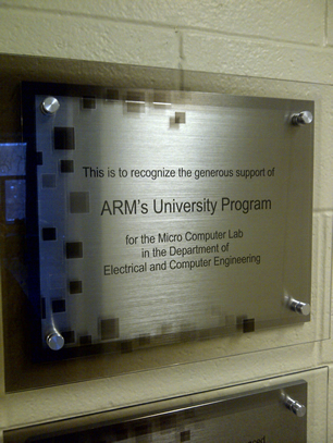The plaque recognizing the support of ARM's University Program