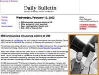 A screenshot of a Daily Bulletin from 2002.