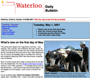 A screenshot of a Daily Bulletin from May 2001.