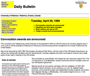A Daily Bulletin from 1999.
