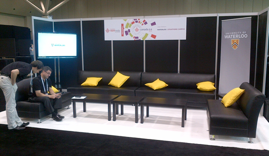 The University of Waterloo networking lounge at Canada 3.0 in Toronto.