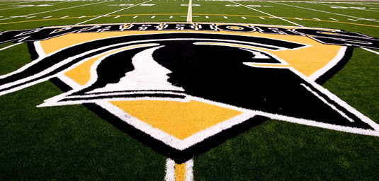 The Waterloo Warriors logo emblazoned on Warrior Field.